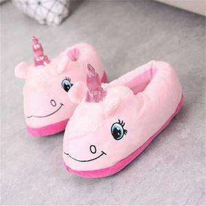 Pantoufles enfants licorne dessin animé pantoufles mignons famille chaleureuse confort plus la taille 28-35 TkXiguF