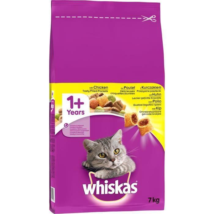 WHISKAS Croquettes au poulet - Pour chat adulte - 7 kg