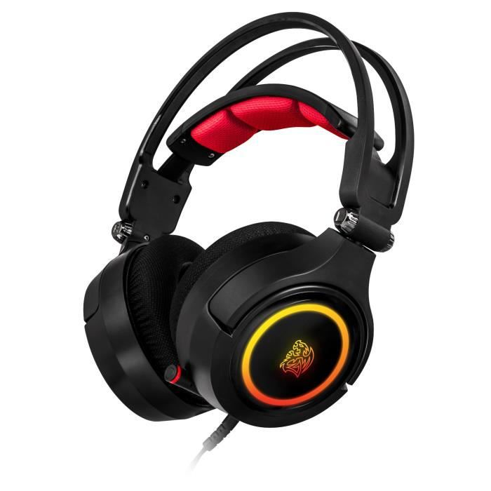 TT ESPORTS BY THERMALTAKE Micro - Casque Gamer Cronos Riing 3D 7.1 - Filaire - Noir - Compatible PC