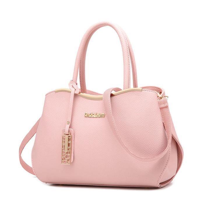 moins cher 4751e 305b2 sac à main cuir rose Sacs Sacs À Main Femmes Célèbres Marques sac cuir noir  sac cabas femme de marque sac a bandouliere femme