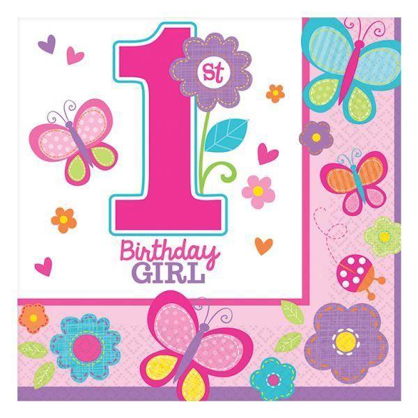 lot de 16 serviettes fille 1 ans deco anniversaire achat vente kit de decoration cdiscount. Black Bedroom Furniture Sets. Home Design Ideas