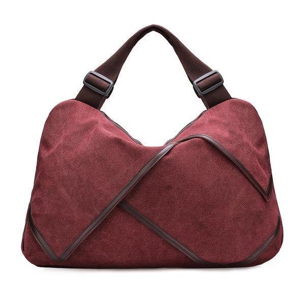 SBBKO4690Toile portable tote sacs à main fleur design épaule Sacs bandoulière sacs big bag Burgundy L