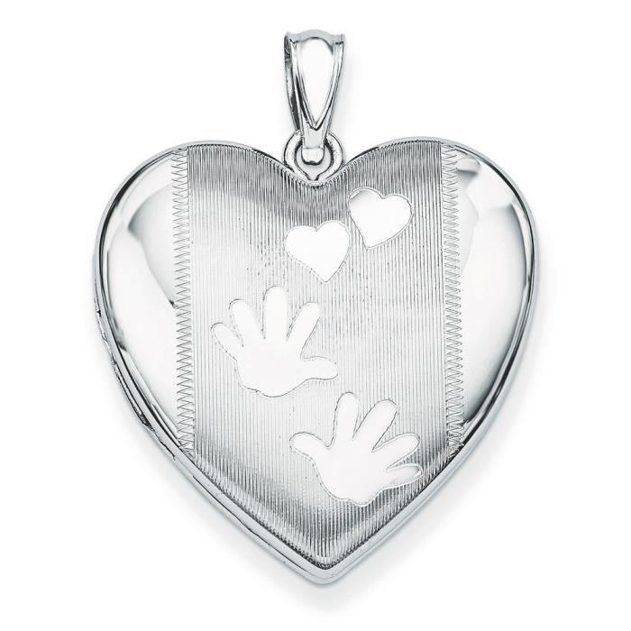 Mains/Médaillon Femme-Coeur-Argent 925/1000–JewelryWeb