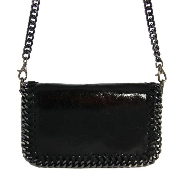 Sac à Main Bandoulière Femme Noir : Petit sac pochette bandouli?re femme ? cha?ne en cuir de