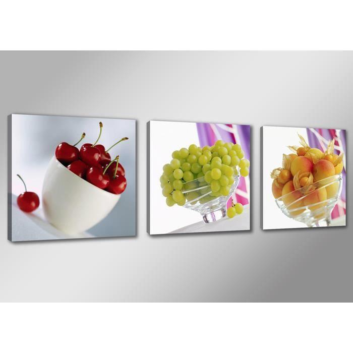 Tableau triptyque imprim fruits achat vente tableau - Tableau de cuisine moderne ...