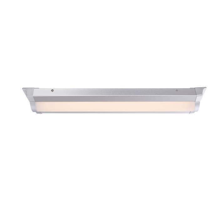Globo lighting plafonnier led aluminium gris métallisé acrylique satiné l 60 x l 125 x h 51 cm