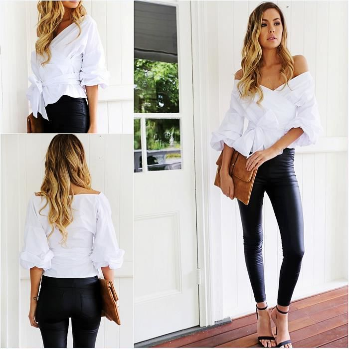 af53842f065aa Chemisier Col V Lacets Sexy Blouse Tops Blanc Blanc - Achat   Vente ...