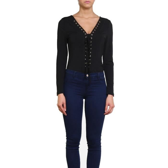 Body à lacets et œillets Cerine Noir Noir - Achat   Vente t-shirt ... 918181a7985