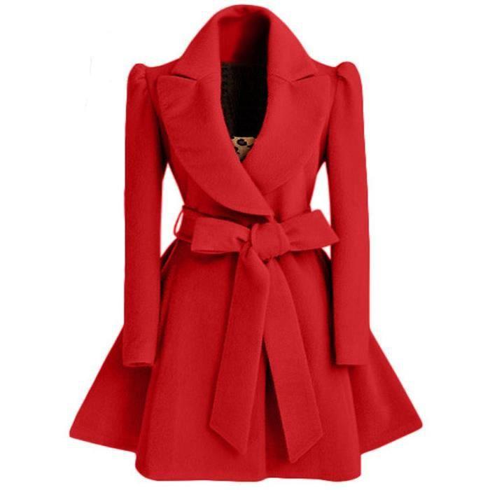Rouge Manteau Femme Longue Laine Col Revers avec Ceinture Nœud Papillon  Grande Taille Nouveauté OL Amincissant Automne Hiver 18a5334ce0e