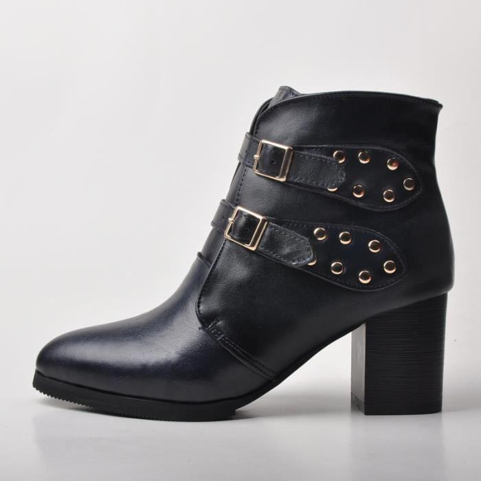 Mode Automne Bottes Femme En Peau De Mouton Cheville Cuir Pointu Chaussures Épais Bottines À Talons,noir,36