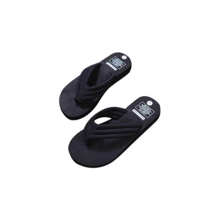 bf876dc3c35c1 Femmes d été TONGS Casual Pantoufles Sandales plates Beach Ouvert Open Toe  Shoes Noir