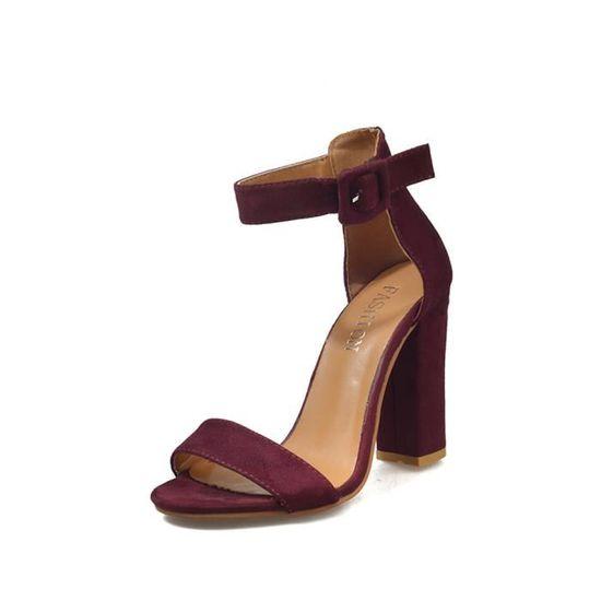 Femmes Boucle Bracelet Mesdames cheville Escarpin Chaussures Sandales Block Party Singel Chaussures Escarpin  Wine  Wine - Achat / Vente escarpin 5f4e18