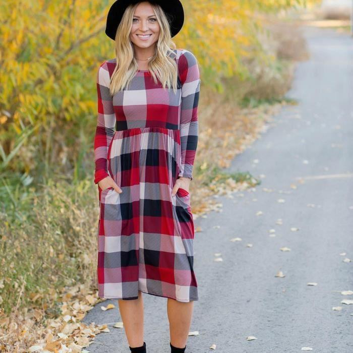 Les femmes à manches longues robe de poche en treillis Les dames à manches longues robe occasionnelle @YXP71221644