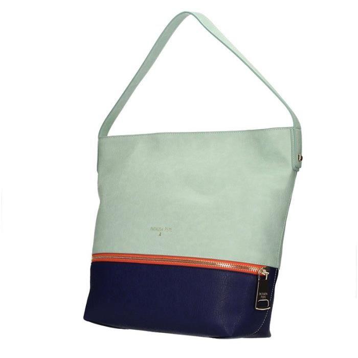 Hobo sac Patrizia Pepe en faux cuir avec maxi zip et bandoulière - Colore:Pure Water Color:De LEau Pur
