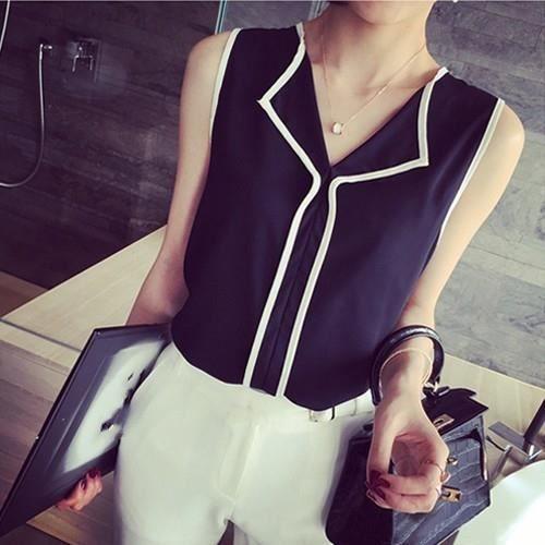 T Kingwing® Tops Sans Mousseline Cou Soie De blanc V Manches Mode shirts Noir Femme y7gvYbf6
