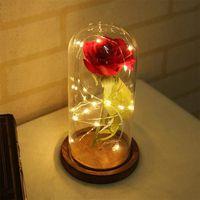 """LAMPE A POSER La Rose Eternelle et lumière LED """"Belle et la bête"""