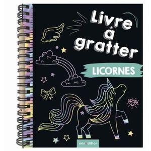 LIVRE LOISIRS CRÉATIFS Licornes. Livre à gratter