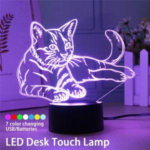 LAMPE A POSER 3D LED Veilleuse Tactile Lampe De Chevet -Chat - 7