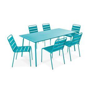 SALON DE JARDIN  Table de jardin et 6 chaises en métal Bleu
