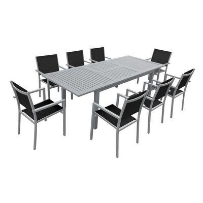 Salon de jardin CAPRI extensible en textilène noir 8 places ...