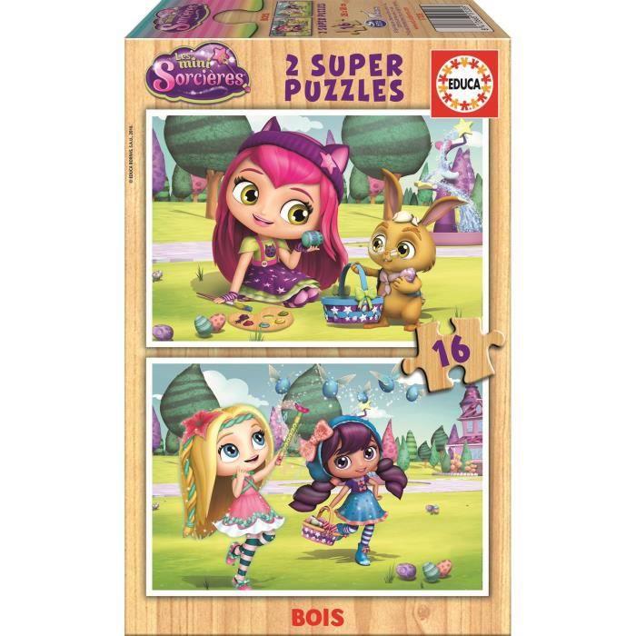 EDUCA Puzzle 2 x 16 Pièces en Bois - Mini Sorcières