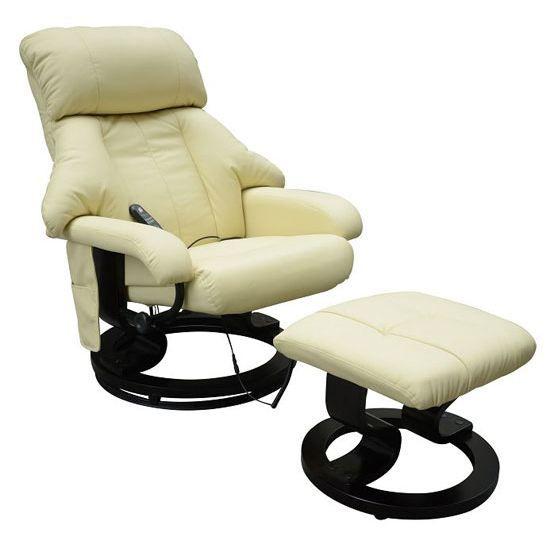 Fauteuil de massage relaxation chauffage electrique repose-pied creme 72