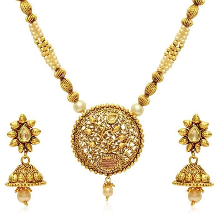 Womens Luxuria Floral Necklace Set With Designer Pearl Mala IV1BL