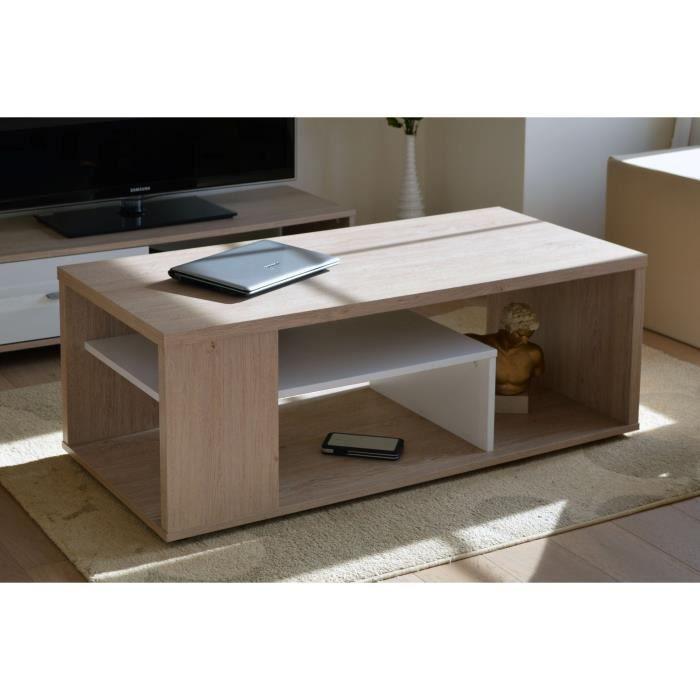 Table basse MELINA. Meuble moderne et tendance couleur chêne et ...