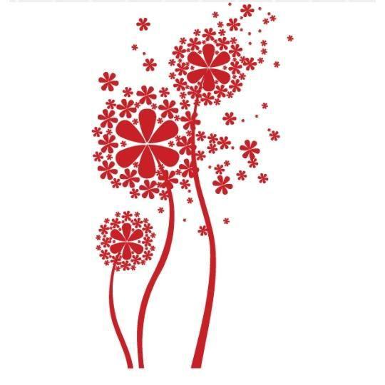 stickers fleurs design rouge achat vente stickers cdiscount. Black Bedroom Furniture Sets. Home Design Ideas
