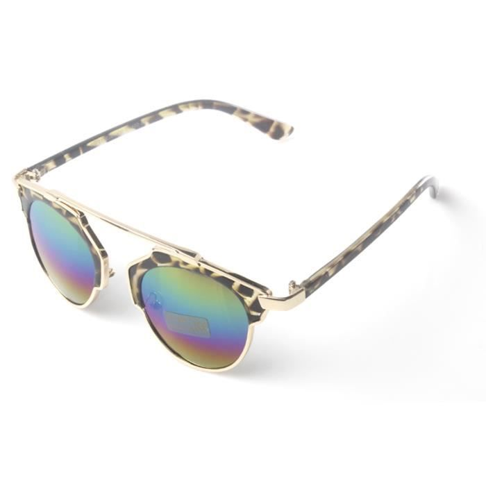 Accessoryo - brun rond imprimé léopard lunettes de soleil avec des détails or haute sourcils et lentilles revo bleu okPNM7m2UZ