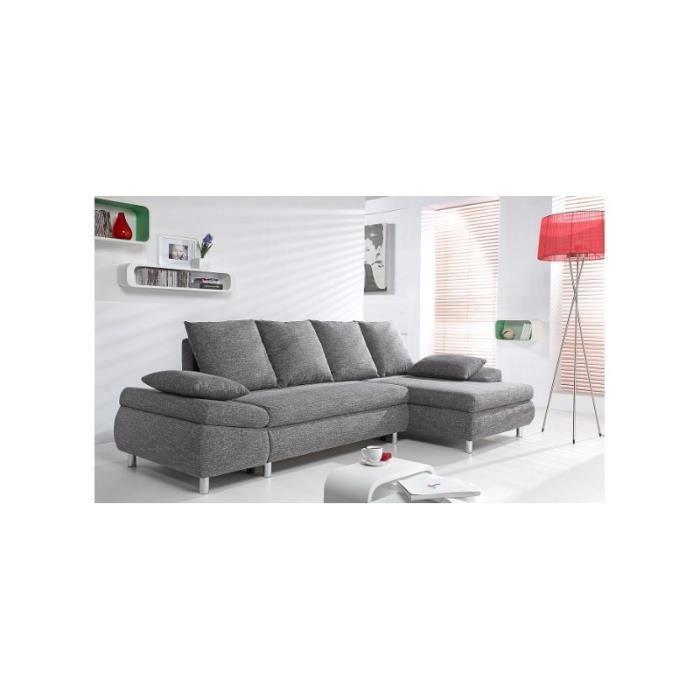 Canapé d angle convertible MILO tissu gris maille chiné Achat