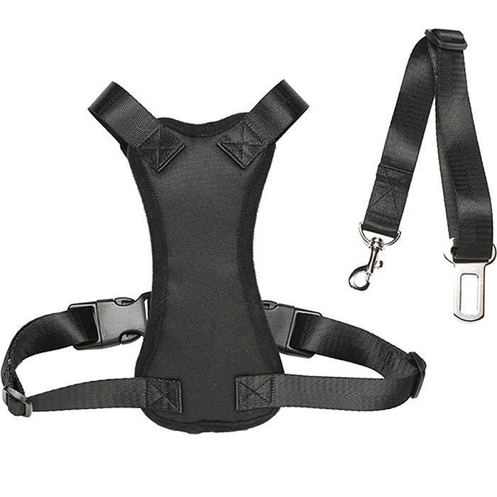 harnais de s curit pour chien avec attache ceinture auto voiture large bk achat vente. Black Bedroom Furniture Sets. Home Design Ideas