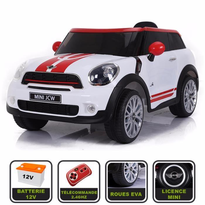 Voiture électrique 12V pour enfant Mini Paceman Cristom® -Roues EVA - Prise  MP3 - Licence MINI blanc e269aabaa898