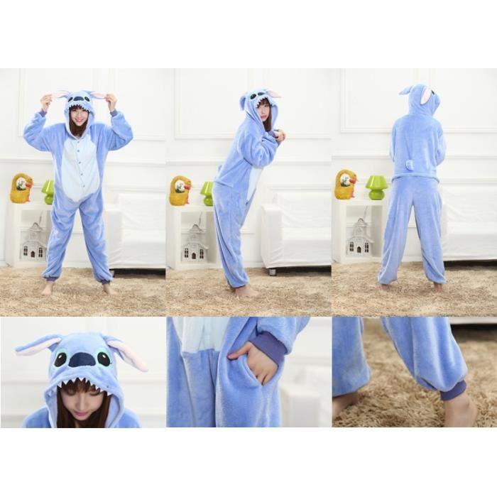 325a8f17aa2b5 Pyjama Combinaison en Flanelle de Femme Monstre Bleu Chaud d'Hiver ...