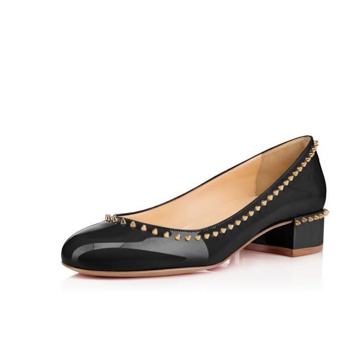 Nancy Jayjii : Ballerines noire à petits talons, avec rivets décoratifs et bouts en amande