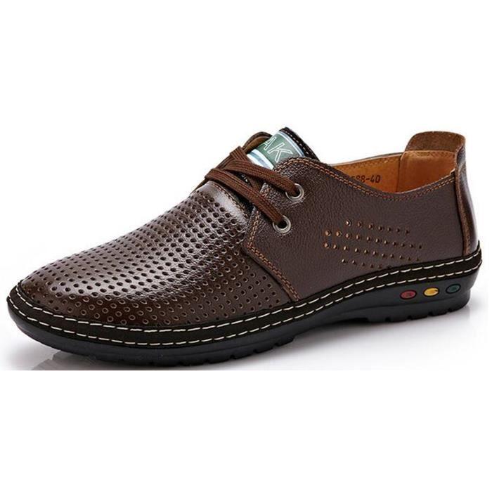 DADAWEN Homme Chaussure Derby de Ville Causal A Souple Brun 44