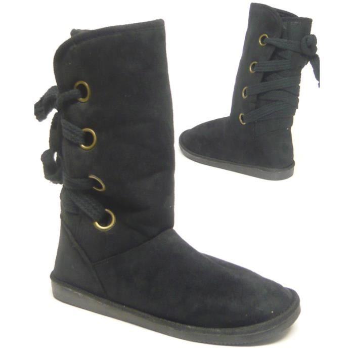36 épais femmes hiver doublé bottes noir q776FxXw