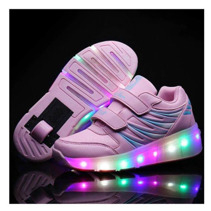 Chaussure de Children LED Light Up Shoes Shoes Sneakers With Wheels Boy Girl Mesh Roller Skate Shoes Chaussure Enfant Glowing