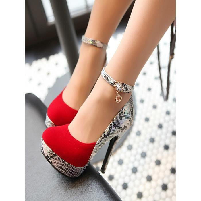 Escarpin Escarpins bout rond Patchwork Serpent Stria Motif Chaussures de plate-forme des femmes 4626740