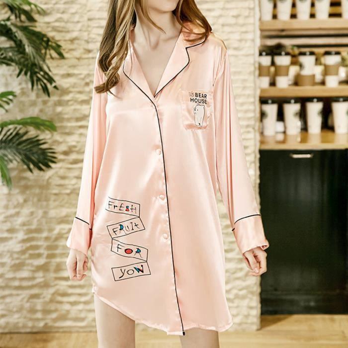 Casual À Robe Rose Femmes Satin Nuit Pyjama Longues Lady's Soie Survêtements Vêtements De Manches q8xBABT