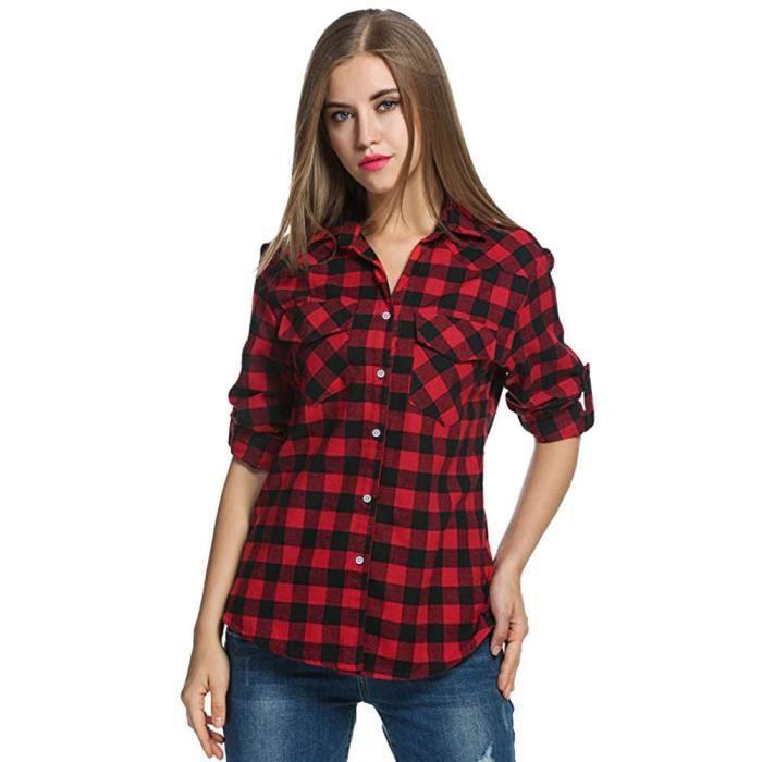 000fe33d9f Amour@ Femmes Tartan Chemises à carreaux Flanelle Enroulez Bouton ...