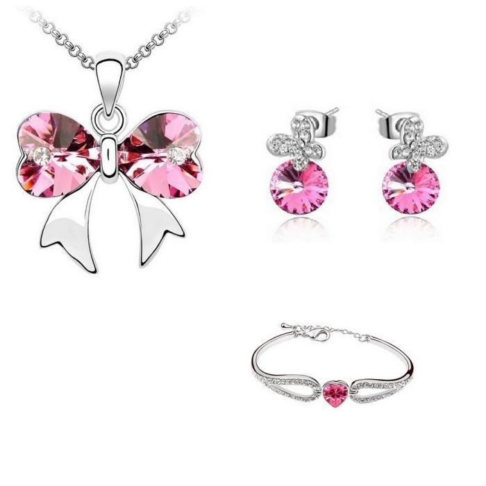 Parure Bijoux Nœud avec Bracelet Cristal Swarovski Eléments Rose