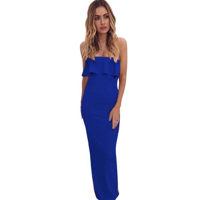 Napoulen®Mode été sexy Lotus hors épaule robe de soirée sans manches pour femmes Bleu YHL80306184BU