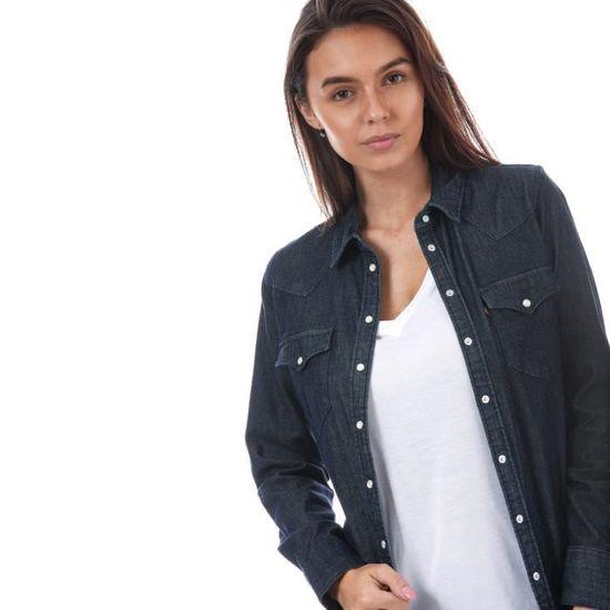 Tailored Chemise Western denim chemisette en pour Achat Vente Levi's Cdiscount chemise femme bleuJean Classic UGqpjLMVSz