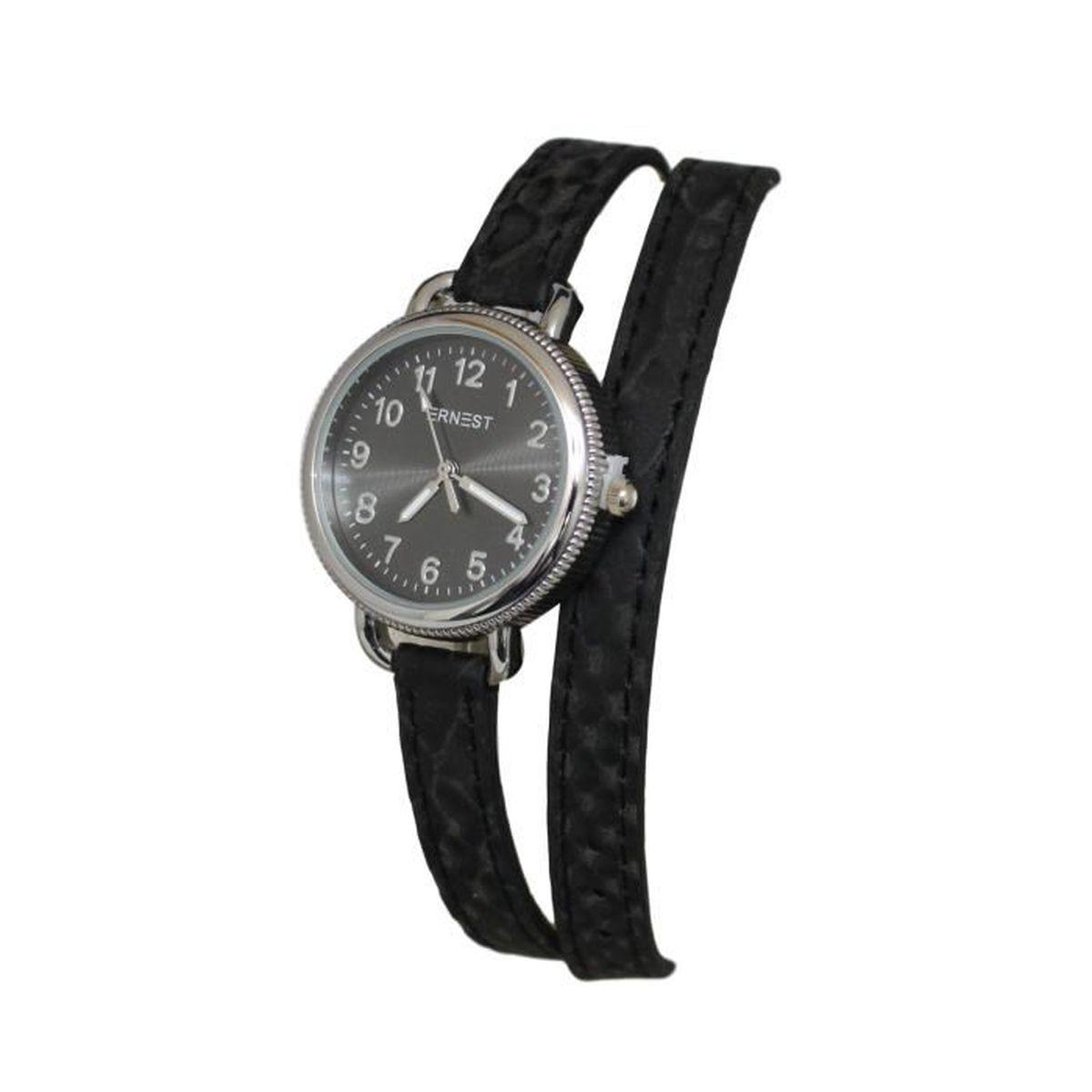 Connu montre femme Ernest bracelet double tour cuir noir - Achat / Vente  EJ81