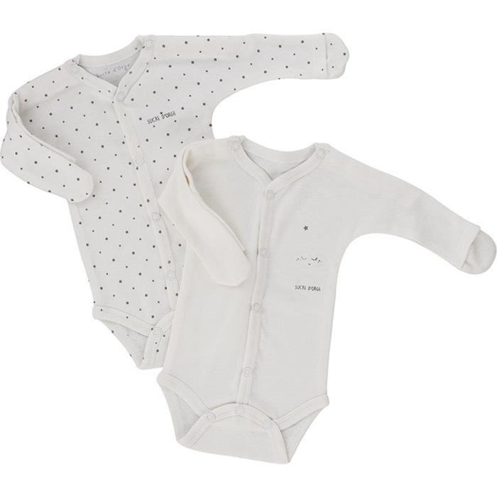 Lot de 2 bodies bébé Mixte SUCRE D'ORGE - manches longues avec mouffles Blanc Etoiles