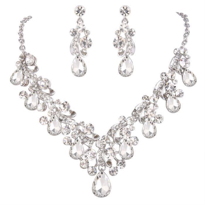 EVER FAITH® Femme Allure Classique Cristal Tige Floral Goutte Plastron Collier Pendante Boucles doreille Série Claire