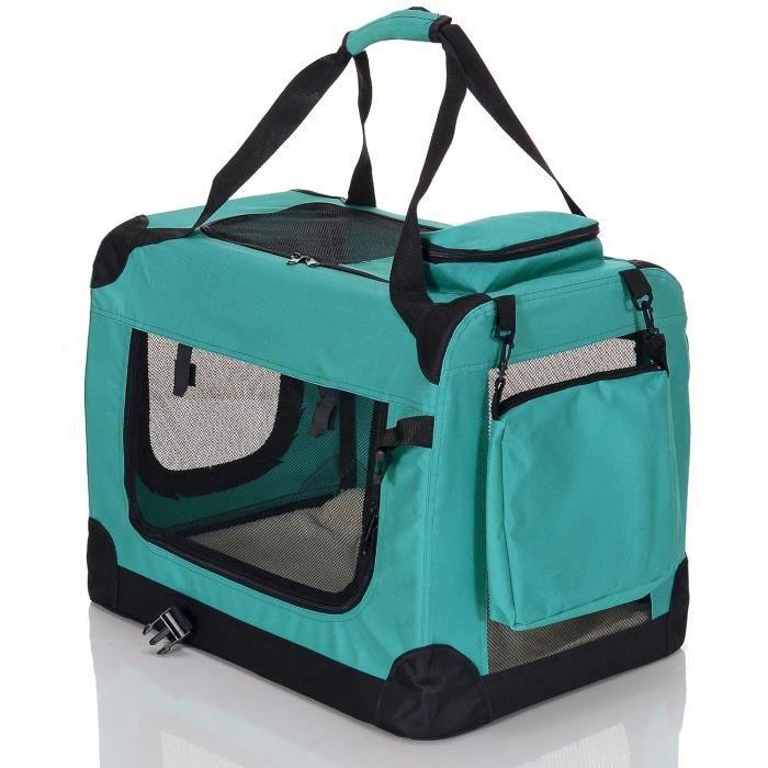 Petviolet Boîte De Transport Por Chiens Chats Animaux Pliable Confortable Sac Transport, Taille L Vert