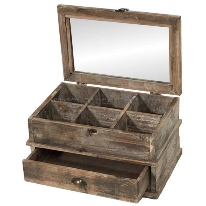 bo te coffre coffret de rangement th en bois 40x26x21. Black Bedroom Furniture Sets. Home Design Ideas