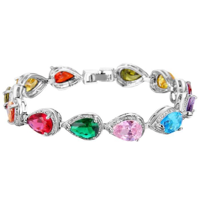 Ever Faith-Cubic Zirconium Larmes Bracelet Multicolore Plaqué Argent Femme N02872-6